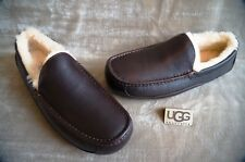 UGG ASCOT LEATHER GRAIN SLIPPERS , Mens US 9,  Color: CHINA TEA,  5379
