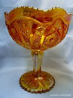 Vintage Imperial Carnival Glass Hobstar & Arches Marigold Compote