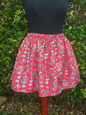 High Waist Skater Mini Skirt Red Paisley Boho Gypsy Festival Size M 12 14 16
