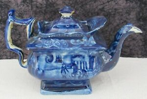 Antique Historical Staffordshire Mt. Vernon Dark Blue Transferware Teapot