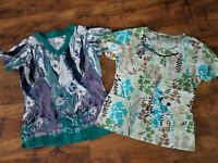 lot 2 Cherokee UA floral BUTTERFLY green teal NURSING SCRUB TOP vet CNA Nurse S