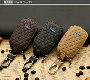 Leather Car Key Protection Bag Car Key Holder Keychain Ring Case Fit for Ford
