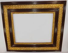 Beautiful Antique Large Oak & Gold Gesso Picture Frame REstored Beautiful Brown
