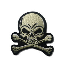 "Embroidered 3"" Skull Cross Bones Cream White Sew or Iron on Patch Biker Patch"