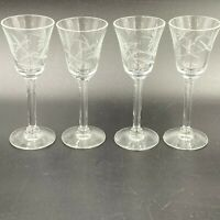 "Vintage Cordial Glasses Set of 4 Etched Flowers Clear Glass 4.25"" Tall GS3"