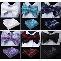 HISDERN Floral Men Woven Silk Wedding Self Bow Tie handkerchief Set#RR1