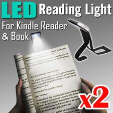 2X LED Clip Light Portable Travel Flexible Clamp Clip On Reading Book Light Lamp