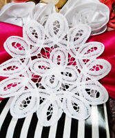 """4 Doilies Cotton White Lace Doily Weddings Dining Decor Sewing Crafts Journal 6"""""""