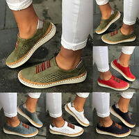 Womens Breathable Flat Slip On Sneakers Lady Casual Trainers Loafers Pumps Shoes