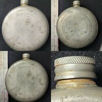 BRITISH UK Pewter Round Flask SHEFFIELD England Vintage BPC Stamp Flying Horse