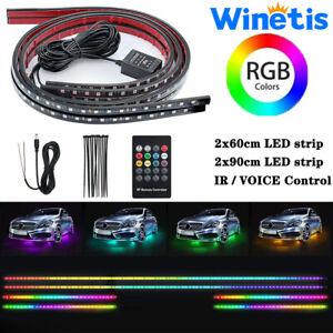 4pcs LED Neon Light Strip Kit Underbody Underglow Multi-Color RGB Remote Control