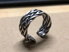 Solid 925 Sterling Silver Mens Retro Knitted Ring Size Adjustable Boxed