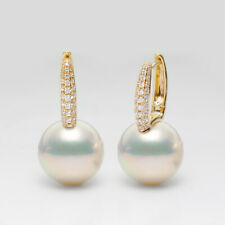 AAAA+ Bigger 11.8mm Round White FW Pearl Hoop Earrings 14k Solid Yellow Gold