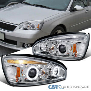 For Chevy 04-07 Malibu Clear Lens LED DRL Halo Projector Headlights Head Lamps