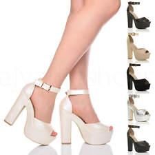 Mujer tacón alto bloque zapatos plataforma punta abierta sandalias fiesta talla