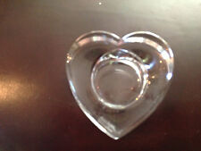 """Orrefors Heart Shaped Votive Candle Holder 3 1/4 x 3 1/4 1 1/2""""H Good Condition"""