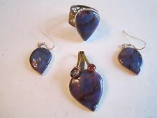 Ring - Size 5 1/2 - Ofc -1 Set Of Purple Stone Earrings - 925, Pendant &