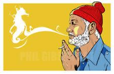 """Seaward Smoke"" Art Print Poster Wes Anderson Life Aquatic Zissou Bill Murray"