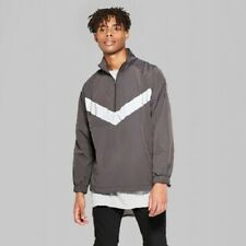 Mens Casual Fit Reflective Pieced Original Use Anorak Pullover Jacket size L NWT