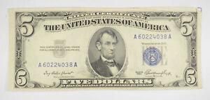 RARE - Crisp 1953 - Silver Certificate $5 Blue Seal $5.00 Higher Grade! *105