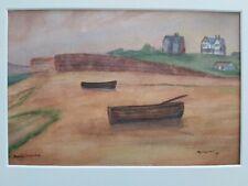 Watercolour, signed, Burton Bradstock beach Dorset 1965