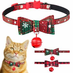 Christmas Dog Cat Pet Puppy Bowknot Necktie Break away Collar Bow Bell Necklace