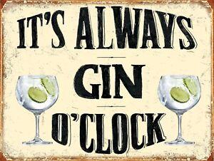 It's Gin 0 Clock Retro Metal Shabby Chic Home Bar Sign