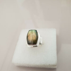 Stunning 16ct Madagascar Fire Labradorite Ring in hand crafted Sterling Silver