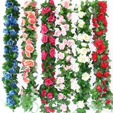 2/4pcs 8Ft Wedding Artificial Fake Silk Rose Flower Ivy Vine Garland Party Decor