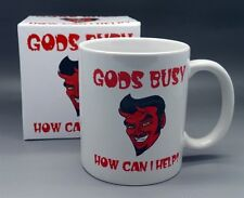 "Devilish Coffee Mug ""GODS BUSY HOW CAN I HELP?"" A Mug For The Mischievous"