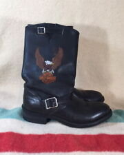 HARLEY DAVIDSON Motorcycle Boots, SZ 9 D, VG Cond, Black Leather