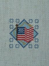 American Flag Mini Completed Cross Stitch