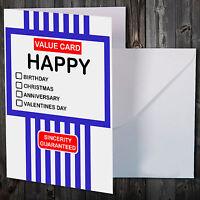 TESCO VALUE NOVELTY CARD CHRISTMAS BIRTHDAY ANNIVERSARY GREETINGS!