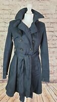 Firetrap Ladies Double Breasted Trench Military Coat Jacket Belted Size Small