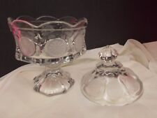 FROSTORIA CLEAR  COIN GLASS CANDY DISH WITH LID
