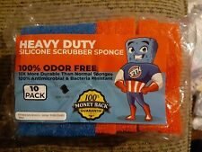 Heavy Duty Silicone Scrubber Sponges (8 Pack) - Antimicrobial & Bacteria Free