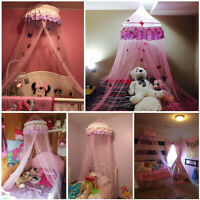 Elegant Lace Bed Mosquito Netting Canopy Princess Queen Dome Bedding Net Kids