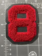 Varsity Letterman Jacket Number Eight # 8 #8 Patch Red Chenille Black Back No.