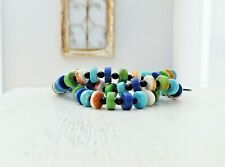 """Carolyn Pollack CorAzon Sterling Silver Turquoise Lapis Bead 8"""" - 9"""" Bracelet"""