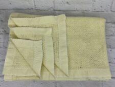 "Vtg Yellow Baby Blanket Lovey 36""x48"" Waffle Weave Thermal Acrylic SATIN TRIM"