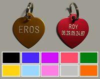 Médaille COEUR gravée pour animaux chien ou chat - 10 couleurs