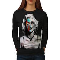 Wellcoda Skull Celebrity Womens Long Sleeve T-shirt, Paint Casual Design