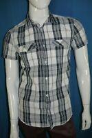 JULES Taille S Superbe chemise manches courtes homme chemisette carreaux gris