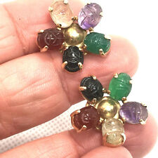 Estate Harry Bick & Sons - NY- 14K Scarab Flower Earrings
