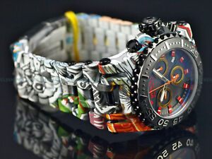 Invicta Reserve Men 50mm CHAOS GRAFFITI Swiss Chrono Hydro Aqua Plated SS Watch