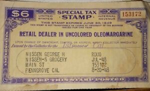 US TAX Stamp  UNCOLORED OLEOMARGARINE  July 20,1948  $6.00 stamp
