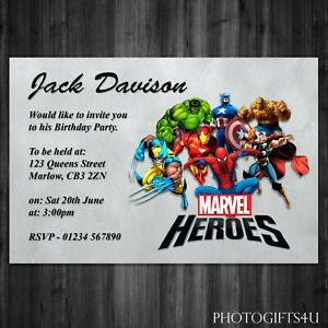 Personalised MARVEL HEROES Party Invitation Cards With Free Envelopes Birthday