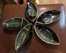 Oriental Asian Signed Pottery Fish Shaped Boat Dishes (5) Divided for sauce?