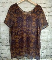 Modamix Womens Top Size 16W Sheer Gold Purple Floral Faux 2Fer Caftan Tank