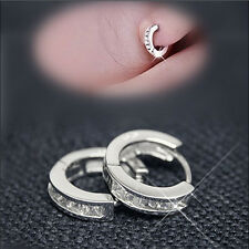 New Fashion Silvering Plated Small Round Huggie Hoop Earrings Free Shipping